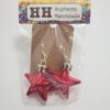 Red Star Shaped Ornament Earrings