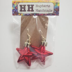Red Star Ornament Earrings