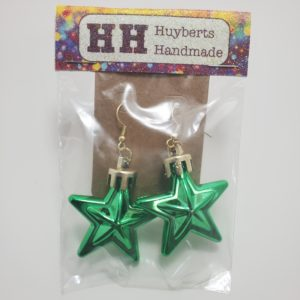 Green Star Ornament Earrings