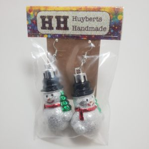 Large Glittery Snowman Earrings