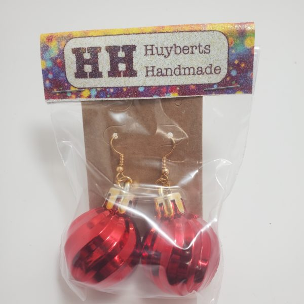 Red Shiny Shaped Ornament Earrings