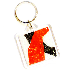Plastic Bag Fabric Keychain with white black and red