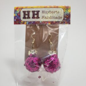 Glitter Ornament Earrings in Fuchsia