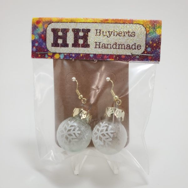 Frosted Glass Ornament Earrings with Snowflakes on them