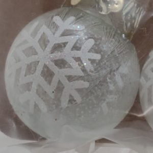 Frosted Glass Ornament with Painted on Snowflakes
