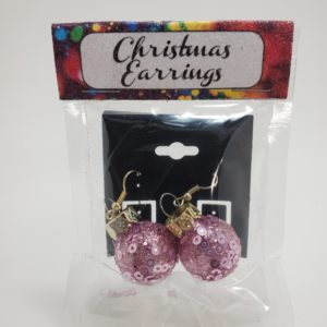 Glitter Ornament Earrings in Pink