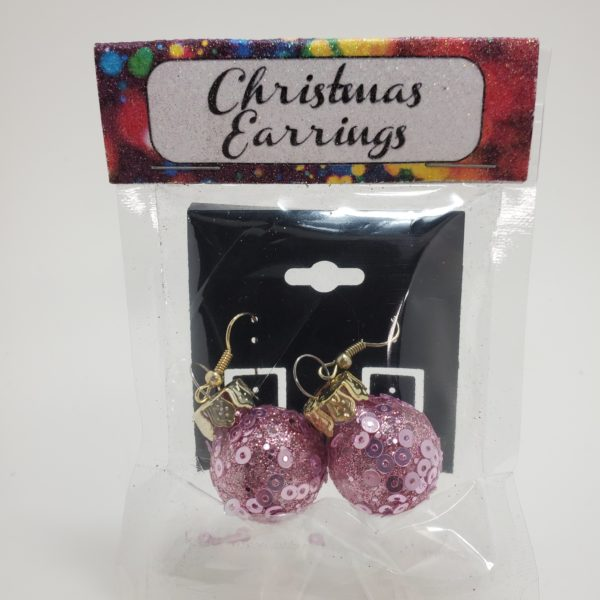 Pink Glitter Ornament Earrings
