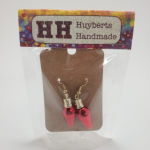 Christmas Light Bulb Earrings in Red