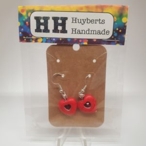 Ceramic Heart Earrings with Red Crystal Center